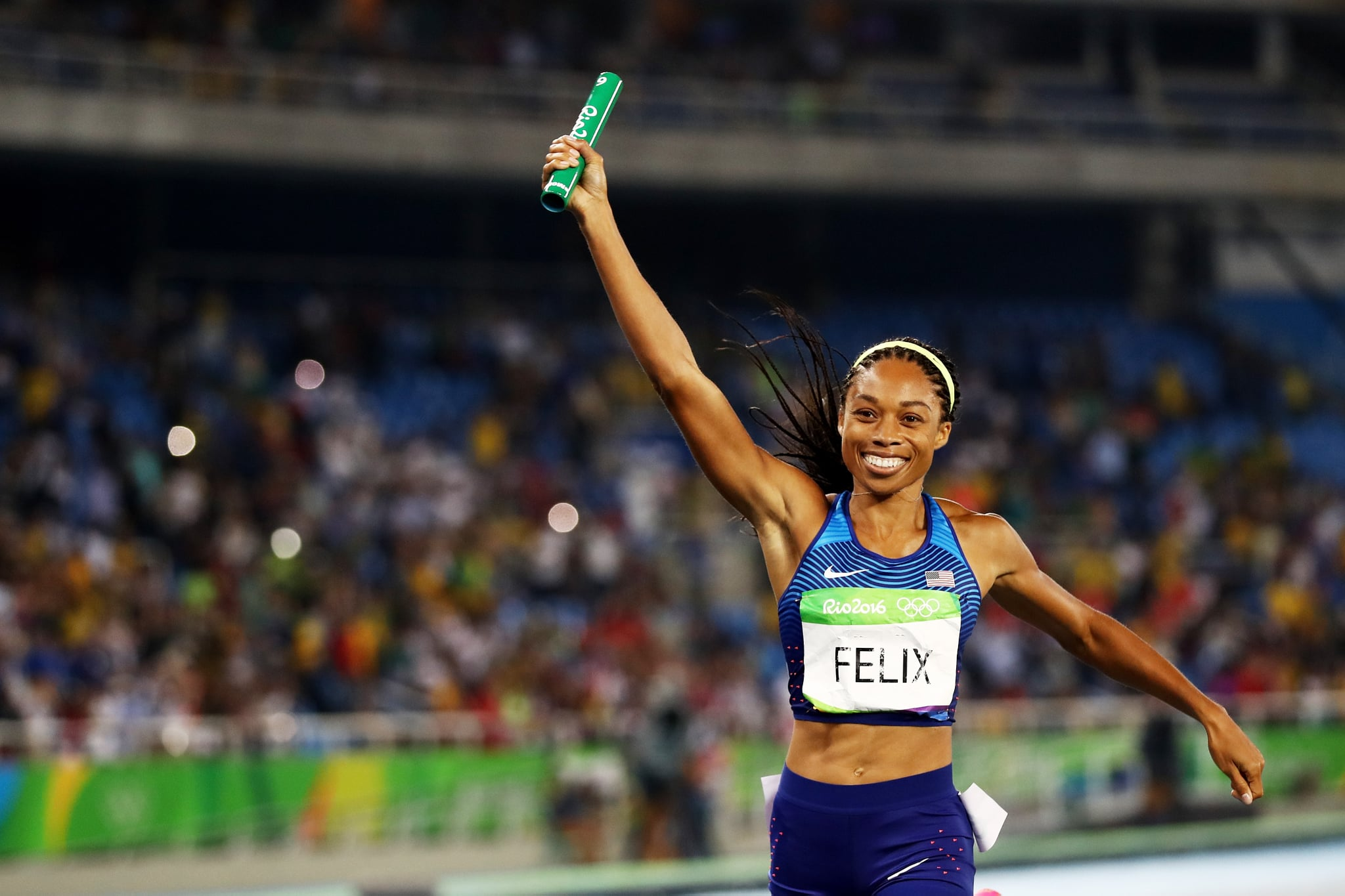 RIO DE JANEIRO, BRAZIL - AUGUST 20:  Allyson Felix of the United States reacts after winning gold during the Women's 4 x 400 meter Relay on Day 15 of the Rio 2016 Olympic Games at the Olympic Stadium on August 20, 2016 in Rio de Janeiro, Brazil.  (Photo by Ezra Shaw/Getty Images)