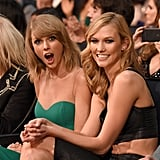 She was surprised to have her photo taken while sitting with BFF Karlie Kloss at the American Music Awards in November 2014.
