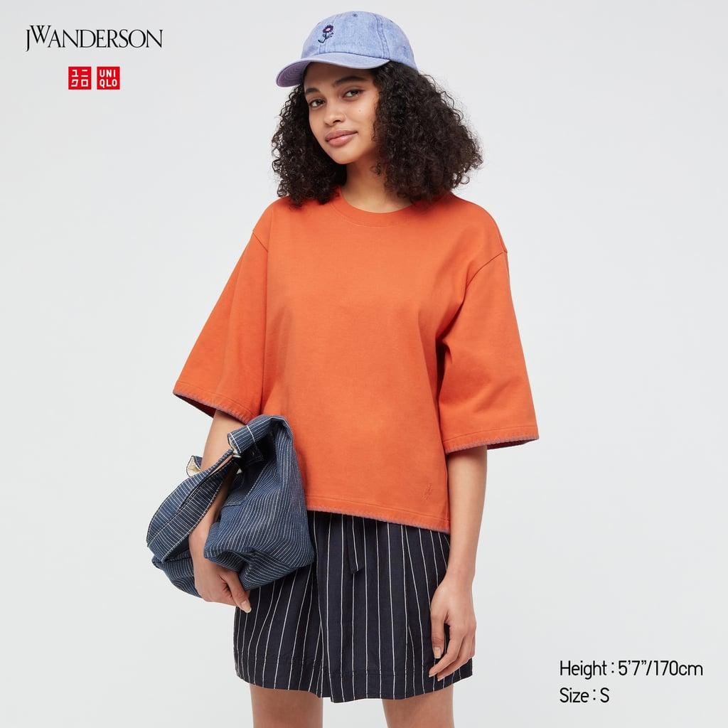 Cotton Blanket Stitch Half-Sleeve T-Shirt