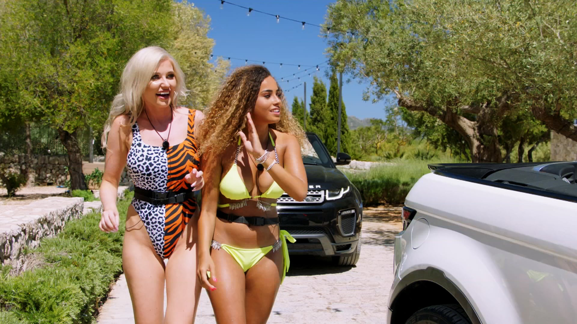 From ITV StudiosLove Island: SR5: Ep1 on ITV2.Pictured: Amy and Amber are the first arrivals at the villa.This photograph is (C) ITV Plc and can only be reproduced for editorial purposes directly in connection with the programme or event mentioned above, or ITV plc. Once made available by ITV plc Picture Desk, this photograph can be reproduced once only up until the transmission [TX] date and no reproduction fee will be charged. Any subsequent usage may incur a fee. This photograph must not be manipulated [excluding basic cropping] in a manner which alters the visual appearance of the person photographed deemed detrimental or inappropriate by ITV plc Picture Desk.  This photograph must not be syndicated to any other company, publication or website, or permanently archived, without the express written permission of ITV Picture Desk. Full Terms and conditions are available on the website www.itv.com/presscentre/itvpictures/termsFor further information please contact:james.hilder@itv.com / 0207 157 3052