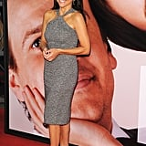 Julia Louis-Dreyfus makes her second Tribeca Film Festival appearance in yet another body-con cocktail dress, this time outfitted with a halter-style neckline and lots of sparkly silver embellishments.