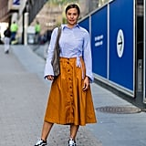 With a Collared Shirt and Button-Up Midi Skirt