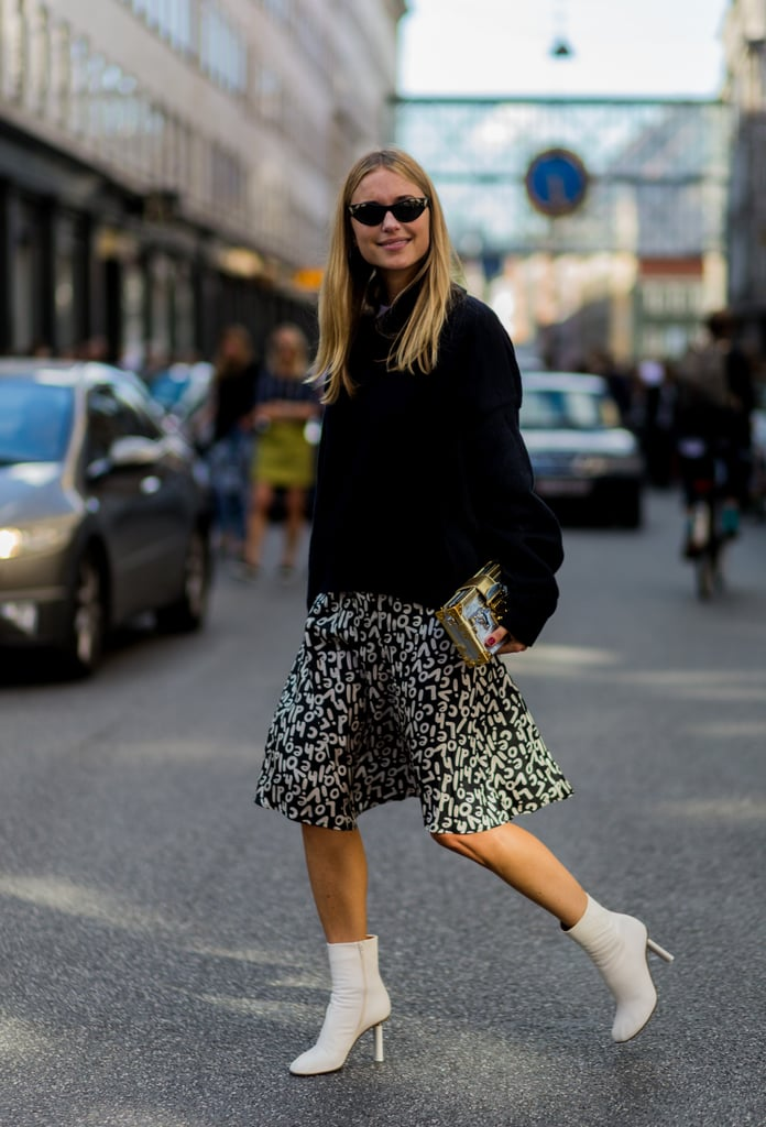 Choose a graphic printed skirt and style it with your favorite knitted sweater.