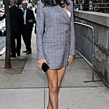 Adriana Lima Wore an Asymmetrical Blazer Dress