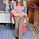 An Argyle Sweater and Tulle Top From the Molly Goddard Fall 2020 Runway at London Fashion Week