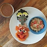Gonzo and Fozzie Bear fruit and spelt pancakes.