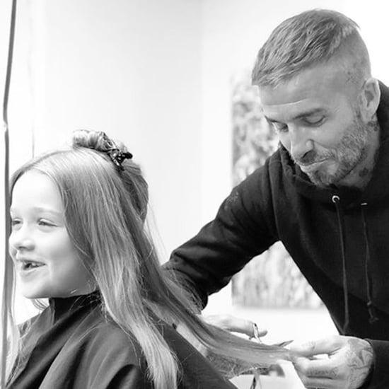 David Beckham Cutting Harper's Hair Instagram Photo 2018
