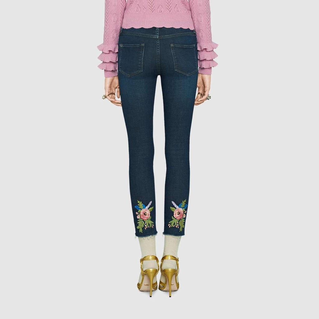 Flower Embroidered Skinny Jeans Gucci CZUS7ew