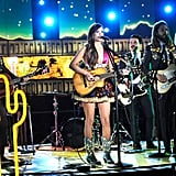 Kacey Musgraves performed with a fun background.