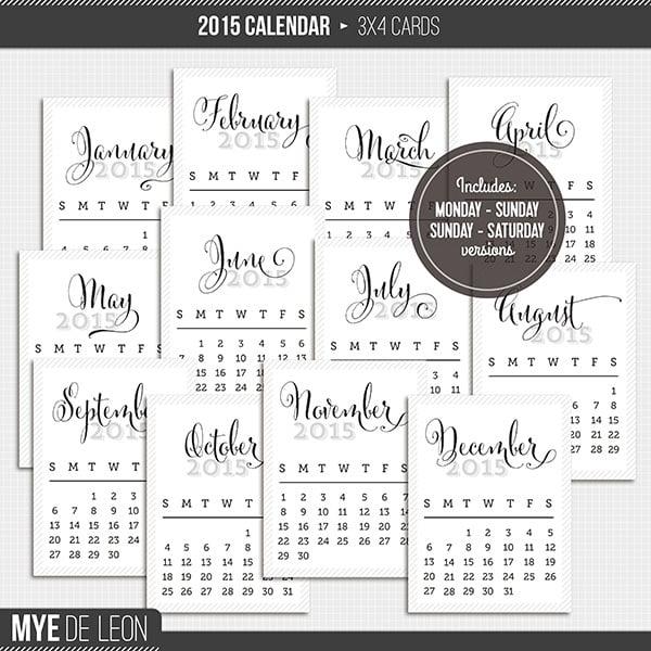 Cute Calendar Cards