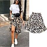 Meihuida Asymmetric Leopard Skirt