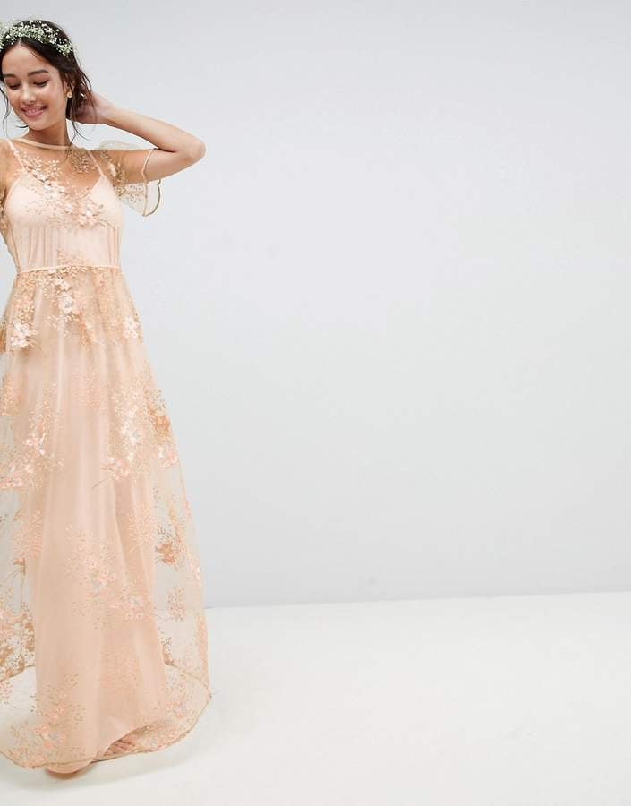 5551b1ecb95 ASOS Wedding Delicate Lace Maxi Dress With Embroidered Flowers ...