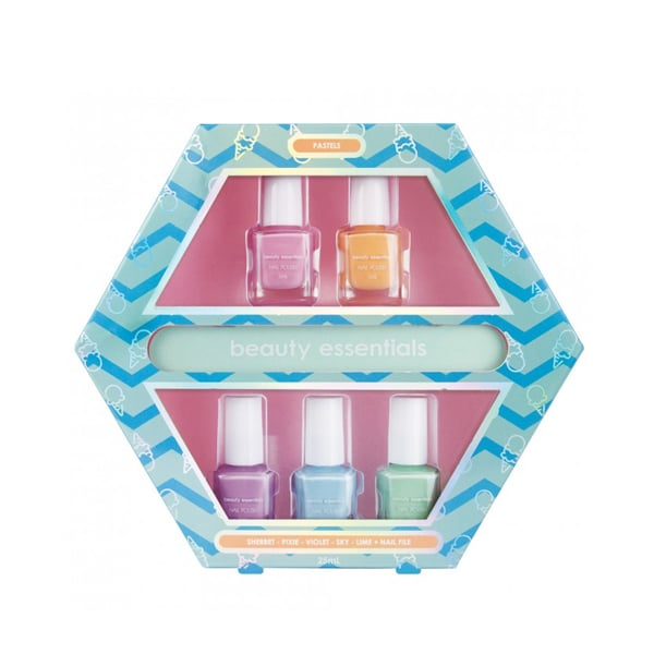 Beauty Essentials Pastels Nail Art Gift Set ($10) The Beauty Essentials gift set offers five pastel shades — perfect for summer manicures and experimenting with nail art. You can gift the entire set or individually gift each nail polish as stocking fillers
