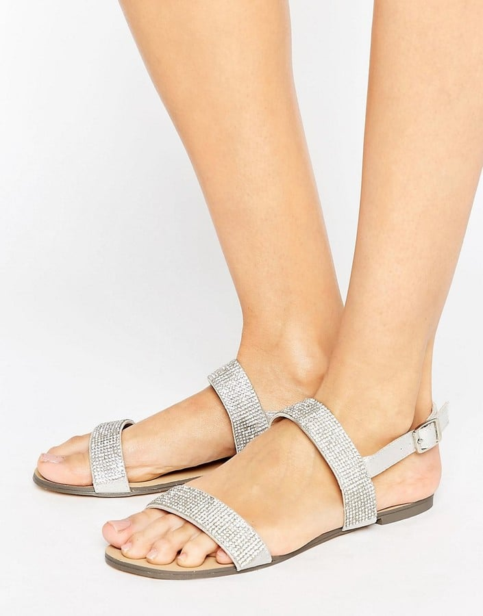 Little Mistress Two Strap Rhinestone Flat Sandal