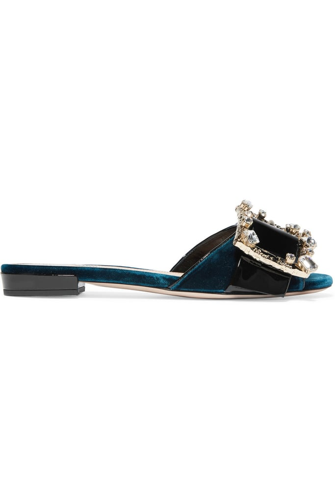daab3e5cb47 Miu Miu Crystal-Embellished Patent-Leather and Velvet Mules ( 790 ...
