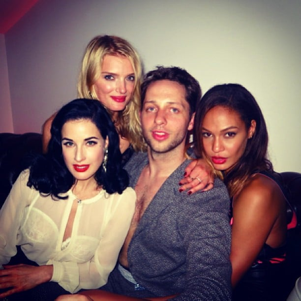 Derek Blasberg had a ball with some beautiful ladies in Cannes — he posed with Joan Smalls, Dita von Teese, and Lily Donaldson, and even lost his shirt! Source: Instagram user derekblasberg