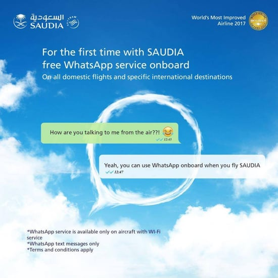 Saudia Airlines Introduces Free In-Flight WhatsApp Messages