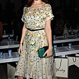 Anna Kendrick arrived in a sweet floral print dress to Temperley London.