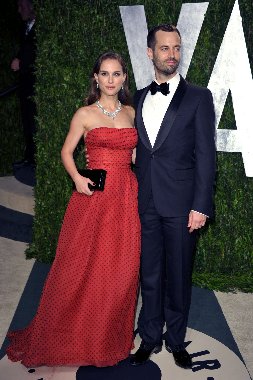 Benjamin Millepied and Natalie at Vanity Fair Oscar party.
