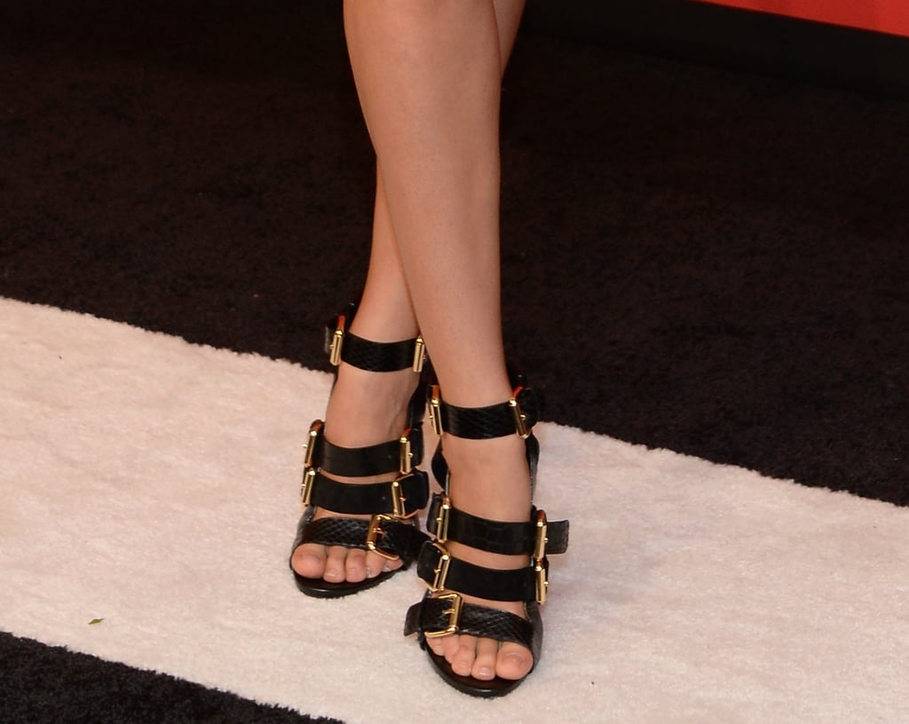 A closer look at Candice's sexy footwear.