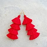 Four-Layered Red Tassel Earrings