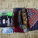 Ellen's bag included a torch flashlight, a black plastic sheet, a razor blade, string, 200 Malawian Kwacha notes, and three large sarongs.