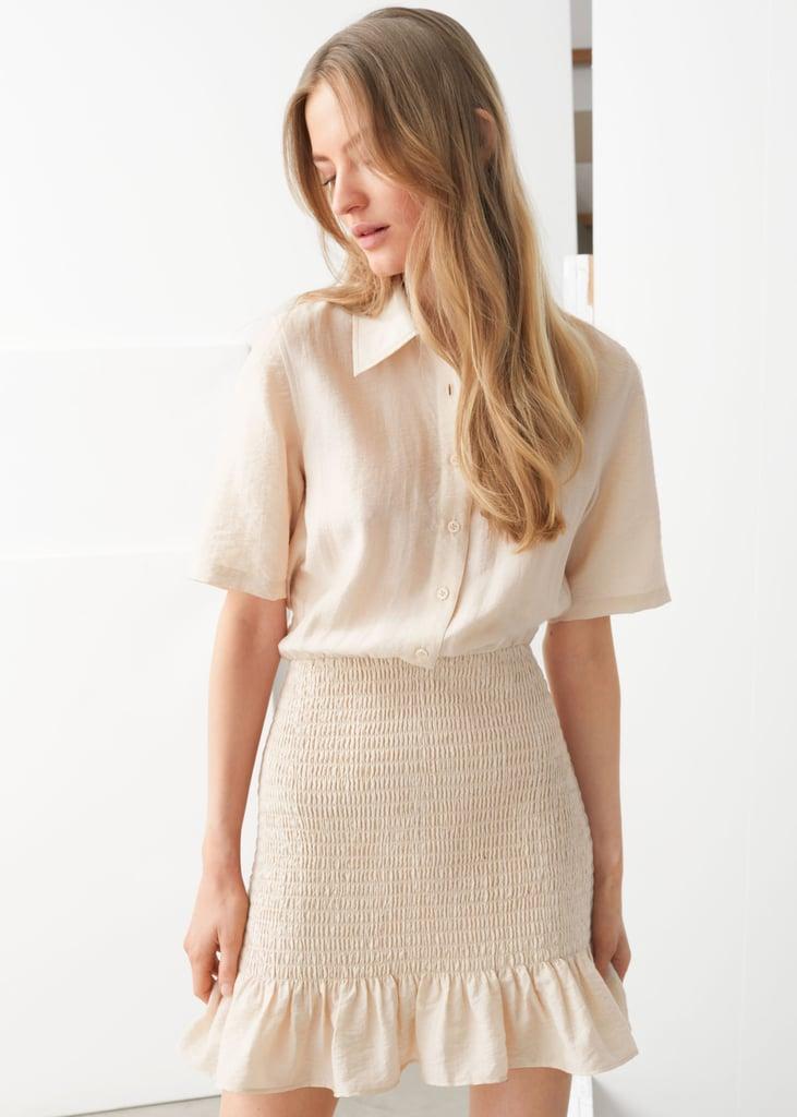 Smocked Mini Shirt Dress
