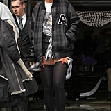Rihanna kickstarted the varsity jacket trend with this prep-school-gone-punk combo she wore in February 2012.