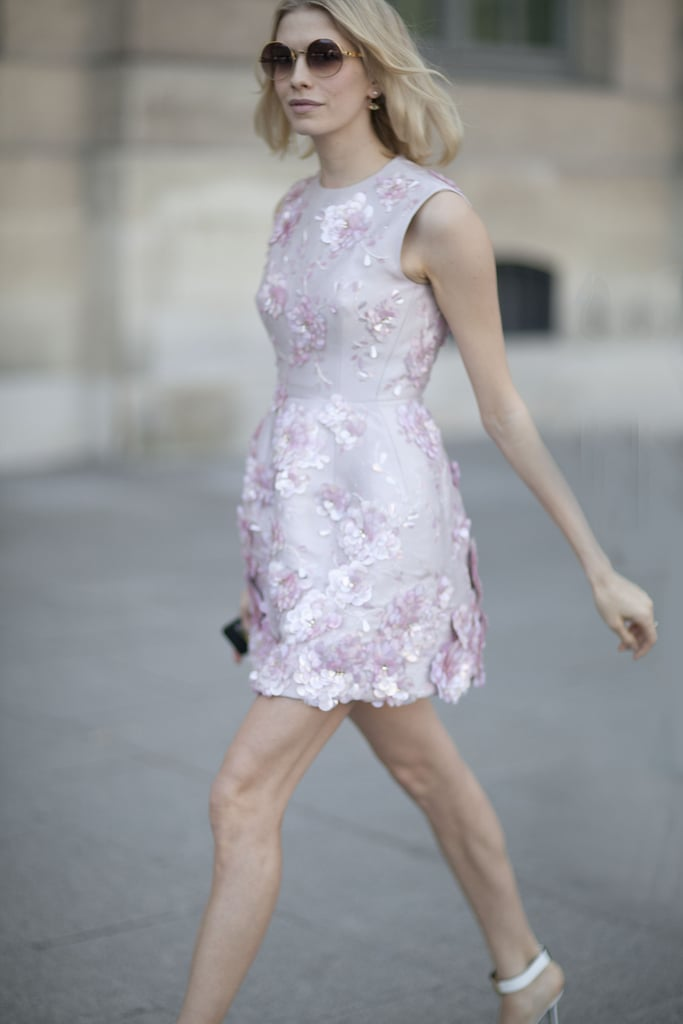 Elena Perminova wore the prettiest of little, embellished pastel dresses.