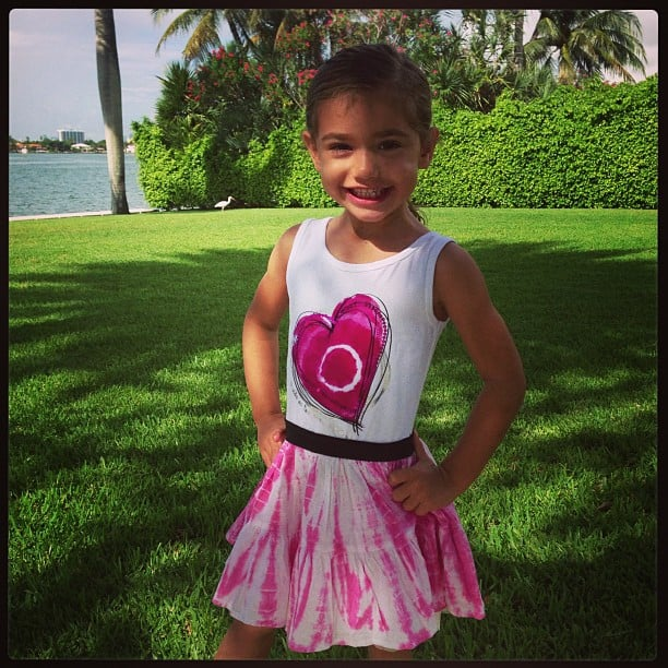 Adriana Lima's daughter, Valentina, takes after her model mom in the posing department. Source: Instagram user adrianalima