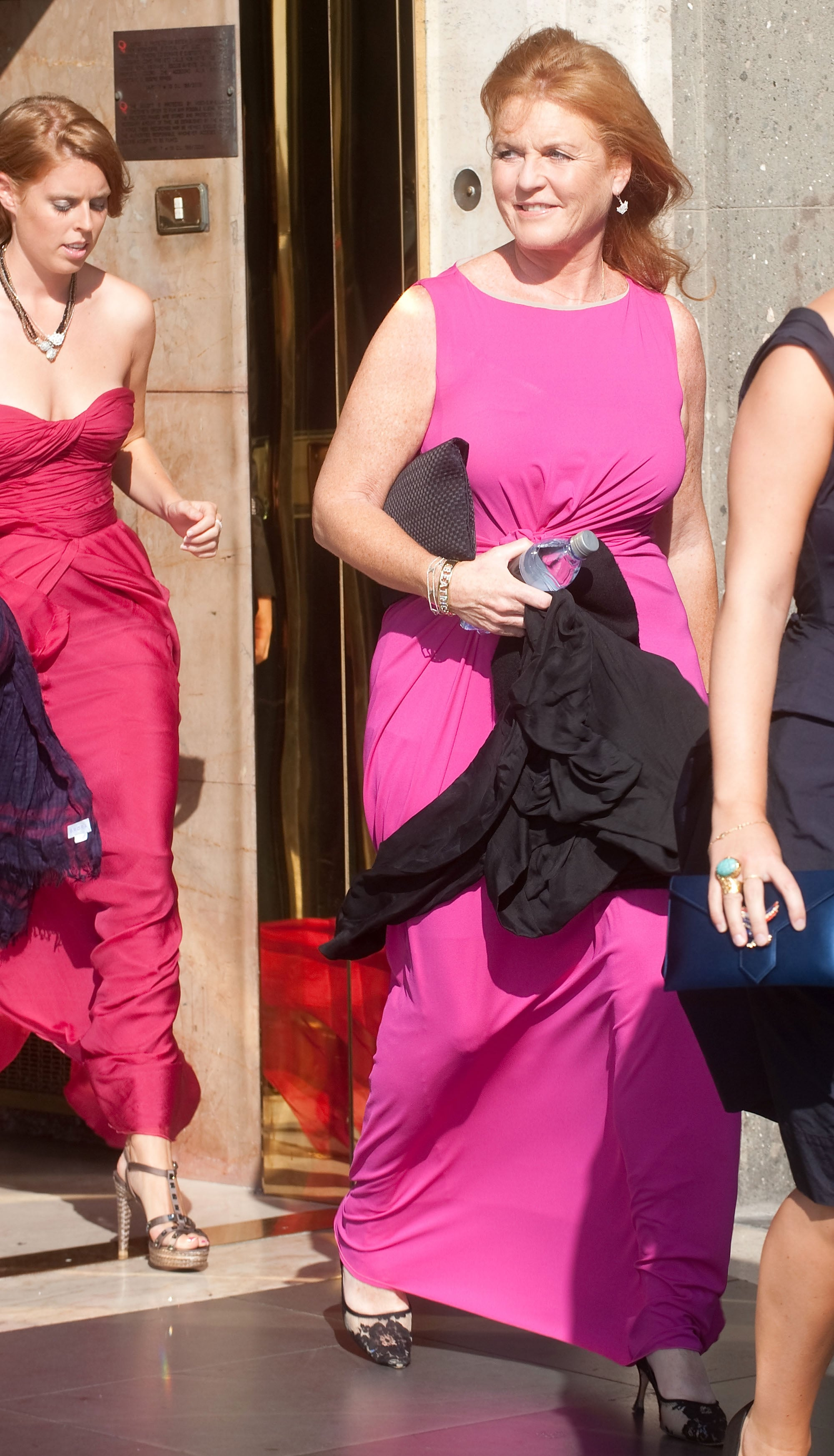 Fergie, the Dutchess of York, wore a bright shade of pink.