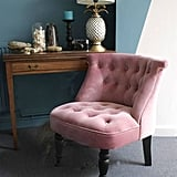 Ella James Dusky Pink Velvet Button Back Bedroom Chair