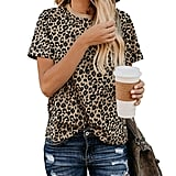 BMJL Leopard Print Basic Short Sleeve Soft Blouse