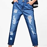 Boohoo Jenny Low Rise Distressed Mom Jeans