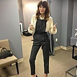 Alexa Chung got ready to film a segment on Anderson Cooper's daytime show. Source: Twitter user alexa_chung