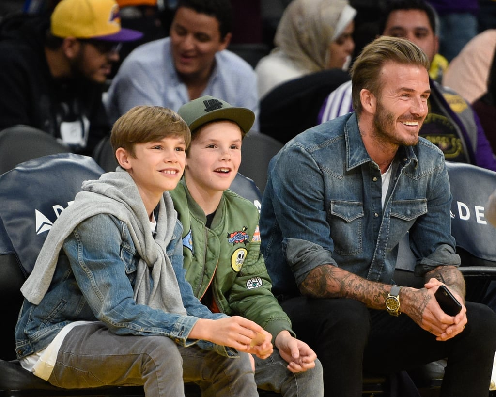 David Beckham With Sons At Lakers Game April 16 Popsugar Celebrity