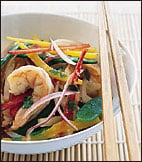 Fast & Easy Dinner: Asian Shrimp Salad with Snow Peas, Jicama and Bell Peppers