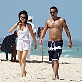 Colin Farrell hit the beach shirtless.