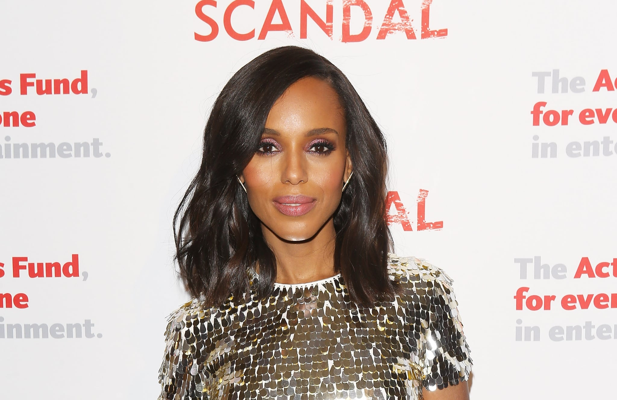 LOS ANGELES, CA - APRIL 19:  Kerry Washington arrives to the Scandal live stage reading of series finale to Benefit The Actors Fund held at El Capitan Theatre on April 19, 2018 in Los Angeles, California.  (Photo by Michael Tran/Getty Images)