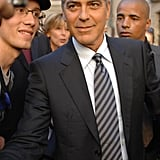 George Clooney Shows His Support For President Obama in Switzerland