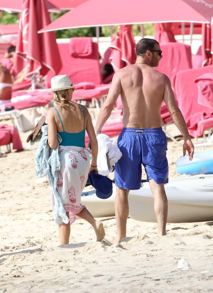 Naomi Watts and Liev Schreiber spent time together on the beach in Barbados.