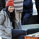 Comedian Awkwafina, spotted on Nov. 2, is already the comic relief of this movie.