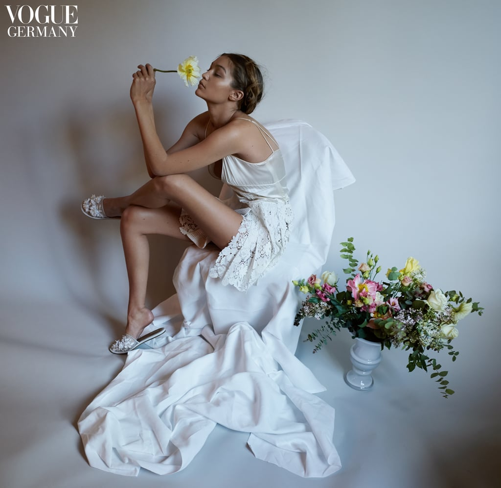 """The Vogue magazines around the world are collectively very, very into supermodel Gigi Hadid. First, she appears in the American edition in a romantic spread with boyfriend Zayn Malik, and now, Gigi's also front and centre in a piece for Vogue Germany. The images, lensed by photographer Camilla Akrans, mark the first time an American model has fronted the magazine. It's an honour of which Gigi was very proud; on Instagram, she posted the issue's cover shot with the caption """"GERMAN VOGUE !!"""" Read on to see the images, and head over to Vogue Germany for even more."""