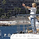 Cameron Diaz took a snap of herself on a yacht in Monaco.