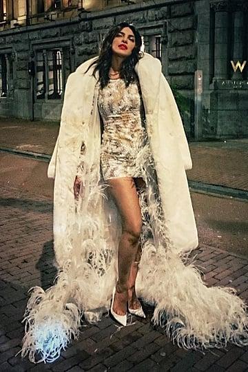 Priyanka Chopra Feather Dress at Bachelorette Party
