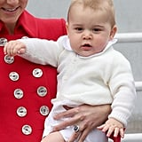 Prince George in Australia in 2014 Wearing a White Cardigan