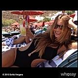 Sofia Vergara enjoyed a drink by the pool. Source: Sofia Vergara on WhoSay