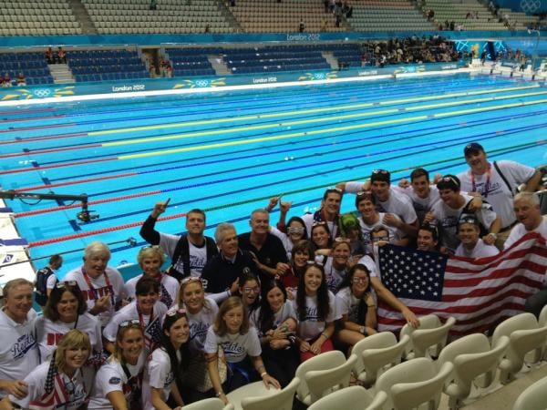 US swimmer Conor Dwyer's family showed their support in the stands.  Source: Twitter user esqright