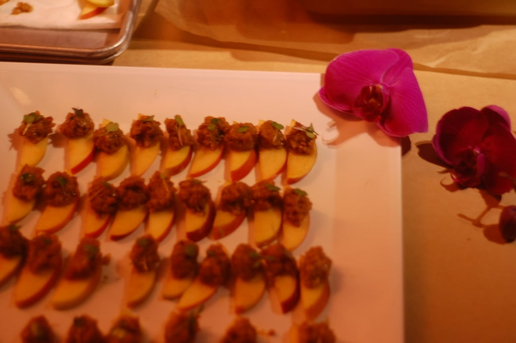 Small bites like apples topped with Azalina's Malaysian peanut sauce kept us satisfied until the real feasting began.