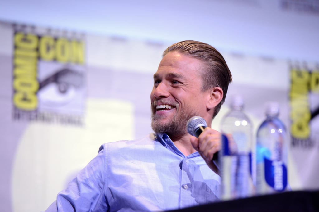 Over the weekend, Charlie Hunnam made a handsome appearance in San Diego while promoting King Arthur: Legend of the Sword at Comic-Con. The sexy star hit the stage on Saturday as part of the Warner Bros. presentation, all smiles during his time in the spotlight. Meanwhile, fans finally got to see the King Arthur trailer, which features several glimpses of a shirtless Charlie Hunnam. Keep reading for a look at the best pictures of Charlie Hunnam's Comic-Con weekend, then check out the first pictures of King Arthur plus the sexiest Charlie Hunnam snaps out there.